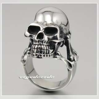 Huge 316L Stainless Steel Skull Men`s Biker Ring 3K2A