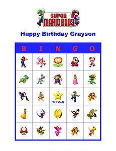 Super Mario Bros. Brothers Nintendo Birthday Party Game Bingo Cards