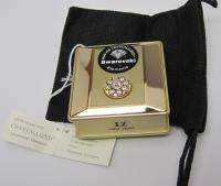 New Swarovski Crystal Elegant GOLD PILL BOX Case 2 Pt