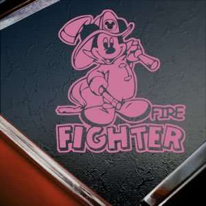 MICKEY DISNEY FIRE FIGHTER Pink Decal Window Pink Sticker