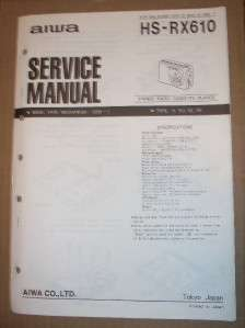 AIWA Service Manual~HS RX610 Radio Cassette Player