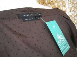 BCBG MAXAZRIA Womens Brown Polka Dot Tie Front Blouse Shirt Top sz M