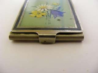 ANTIQUE ART DECO ENAMEL PAINTED FLOWER MATCHBOOK MATCH SAFE CASE VEST