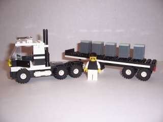 LEGO   SEMI TRUCK w/ LOAD & Minifig (White & Black)