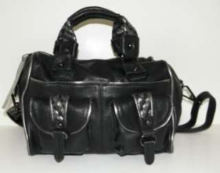 NEW VINCE CAMUTO LARGE BLACK LEATHER TUMBLED ELEANOR SATCHEL CROSSBODY