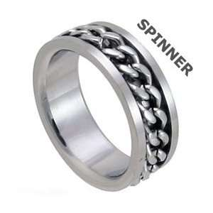 Clearly Charming Spinner Chain Stainless Steel Band Ring Jewelry