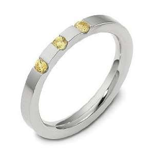 com 2.5mm Platinum Yellow Sapphire Comfort Fit Wedding Band Ring   4