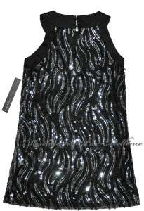 NEW Nicole Miller Girls Formal Dress BLACK SILVER Sequin Sleeveless