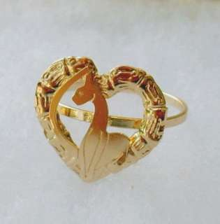18K Gold Filled Yellow Gold Bamboo Heart Shape BIG BABY PHAT Cat RING