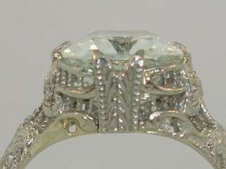 ART NOUVEAU 18K GOLD FILIGREE 2+ CT AQUAMARINE RING MUST C