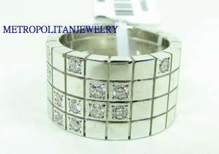 HEAVY 18K WHITE GOLD DIAMOND RING BAND CARTIER LANIERS