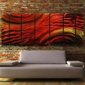 Modern Abstract Metal Wall Art Decor Painting Red Gold Harvest Moods