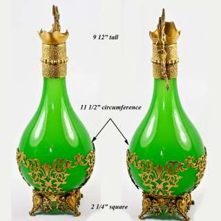 Antique French Green Opaline Glass Claret Jug, Decanter, 9.5 Perfume