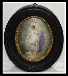Unusual Antique Hand Painted French Porcelain Oval Portrait Plaque NR