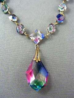 Art Deco Gold P. IRIS Glass Crystal Lavalier Necklace