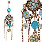 Chandelier Navel Belly Button Ring Synthetic Blue Opal Chain Dangle