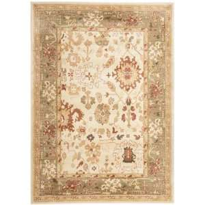 Cream and Green Area Rug, 9 Feet 6 Inch by 13 Feet