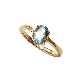 18K Gold Plated Aquamarine Blue Cubic Zirconia Solitaire Ring Jewelry