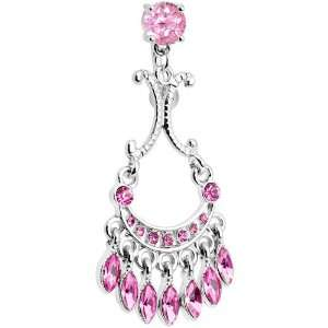 Top Mount Pink Sophia Gem Chandelier Belly Ring Jewelry