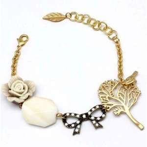 Charm Bracelet Rose Flower Tree Bird Bow Bead Leaf Gold