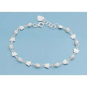 Silver Mini Flower & Butterfly Chain Link Eternity Bracelet Jewelry