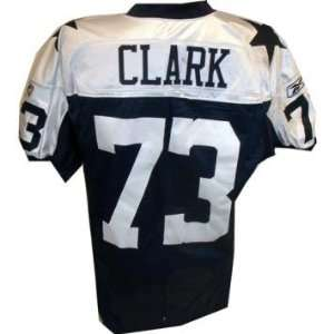 Clark Jersey   Cowboys #73 Game Worn Blue Throwback Football Jersey