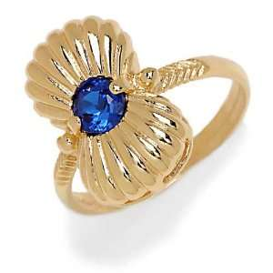 Ring in Yellow 18 karat Gold with Blue Cubic Zirconia, form Butterfly