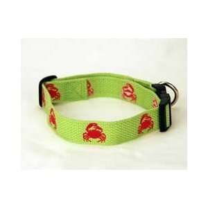 Lime Green Nylon Dog Collar with Fuchsia Embroidered Crabs