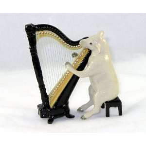 White SHEEP LAMB sits on a Bench plays HARP n BAND MINIATURE New