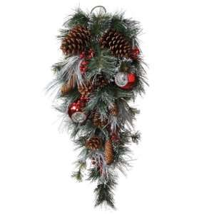 Pine Cone Berry and Ornament Artificial Christmas Swag