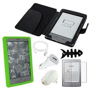 Premium Black Leather Case + Green Silicone Skin + Clear