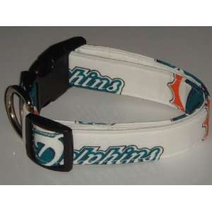 NFL Miami Dolphins Football Dog Collar White Large 1