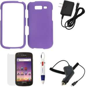GTMax Purple Rubberized Snap On Case + Clear LCD Screen
