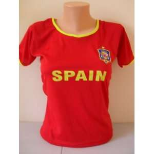 WOMEN SPAIN HOME SOCCER JERSEY FUTBOL .NEW. CHAMPIONS OF