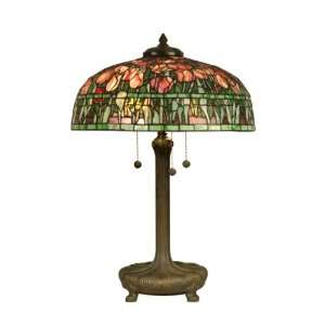 Tiffany TT90423 Tiffany Table Lamp, Antique Verde and Art Glass Shade