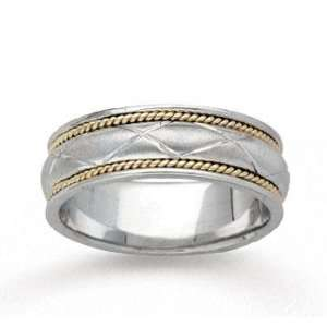 14k Two Tone Gold Diamond Pattern Hand Carved Wedding Band Jewelry