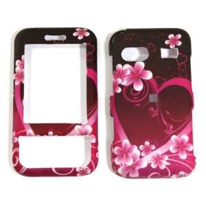Pink with Purple Love Heart Huawei M750 Metro PCS Rubber