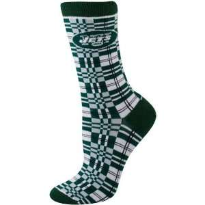 New York Jets Ladies Green Gray Plaid Socks  Sports