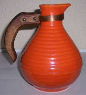 BAUER POTTERY RING WARE ORANGE OPEN COFFEE CARAFE