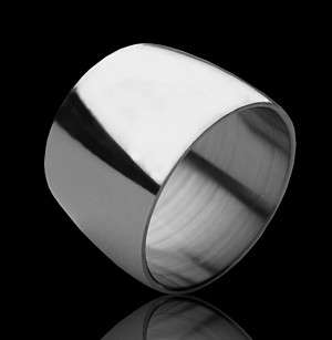 15mm WIDE POLISHED STAINLESS STEEL RING / MENS LADIES WEDDING BAND