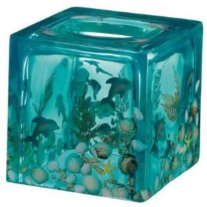 Beautiful real seashell square tissue box dolphin design